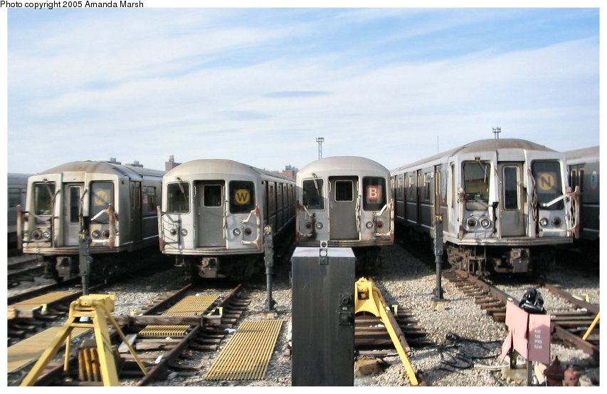 (97k, 853x553)<br><b>Country:</b> United States<br><b>City:</b> New York<br><b>System:</b> New York City Transit<br><b>Location:</b> Coney Island Yard<br><b>Car:</b> R-40 (St. Louis, 1968)   <br><b>Photo by:</b> Amanda Marsh<br><b>Date:</b> 2/29/2004<br><b>Viewed (this week/total):</b> 0 / 4255