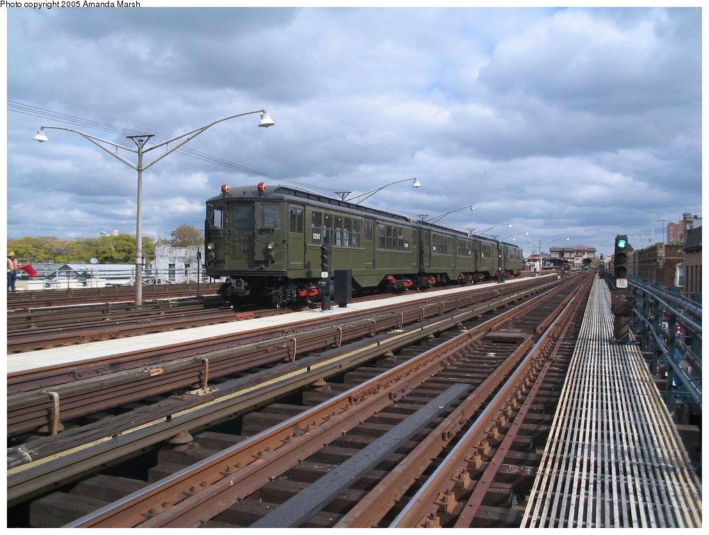 (182k, 1020x770)<br><b>Country:</b> United States<br><b>City:</b> New York<br><b>System:</b> New York City Transit<br><b>Line:</b> BMT Brighton Line<br><b>Location:</b> Brighton Beach <br><b>Route:</b> Fan Trip<br><b>Car:</b> Low-V (Museum Train) 5292 <br><b>Photo by:</b> Amanda Marsh<br><b>Date:</b> 10/22/2004<br><b>Viewed (this week/total):</b> 0 / 2856