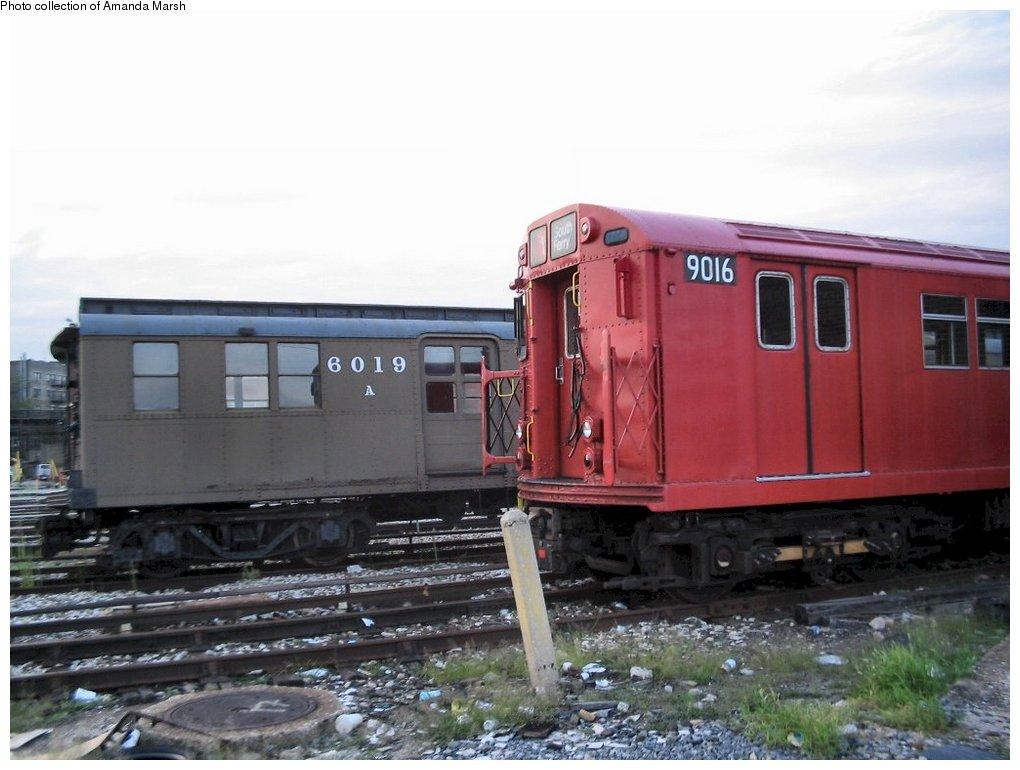 (127k, 1020x770)<br><b>Country:</b> United States<br><b>City:</b> New York<br><b>System:</b> New York City Transit<br><b>Location:</b> 207th Street Yard<br><b>Car:</b> BMT D-Type Triplex 6019 <br><b>Collection of:</b> Amanda Marsh<br><b>Date:</b> 7/25/2004<br><b>Notes:</b> With R33 9016.<br><b>Viewed (this week/total):</b> 0 / 2477