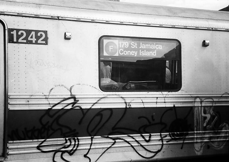 (110k, 794x562)<br><b>Country:</b> United States<br><b>City:</b> New York<br><b>System:</b> New York City Transit<br><b>Location:</b> Coney Island/Stillwell Avenue<br><b>Route:</b> F<br><b>Car:</b> R-46 (Pullman-Standard, 1974-75) 1242 <br><b>Photo by:</b> Stuart Gitlow<br><b>Date:</b> 10/1977<br><b>Viewed (this week/total):</b> 0 / 4763