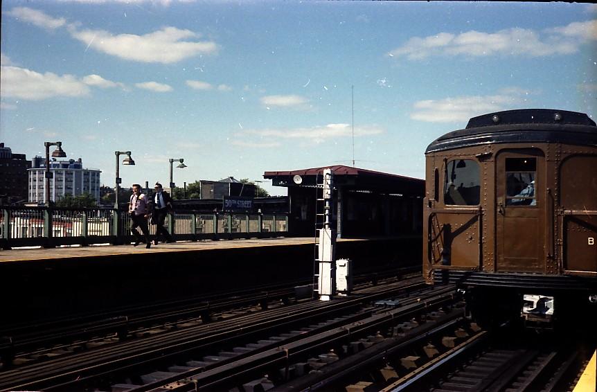 (127k, 862x566)<br><b>Country:</b> United States<br><b>City:</b> New York<br><b>System:</b> New York City Transit<br><b>Line:</b> BMT West End Line<br><b>Location:</b> 50th Street <br><b>Route:</b> Fan Trip<br><b>Car:</b> BMT A/B-Type Standard 2390/2392 <br><b>Photo by:</b> Stuart Gitlow<br><b>Date:</b> 9/11/1977<br><b>Viewed (this week/total):</b> 0 / 1943