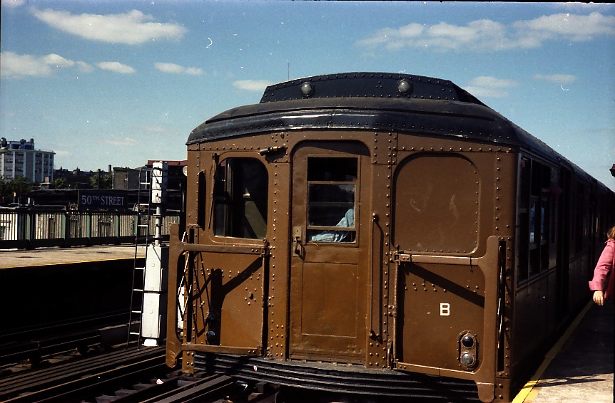 (138k, 862x566)<br><b>Country:</b> United States<br><b>City:</b> New York<br><b>System:</b> New York City Transit<br><b>Line:</b> BMT West End Line<br><b>Location:</b> 50th Street <br><b>Route:</b> Fan Trip<br><b>Car:</b> BMT A/B-Type Standard 2390/2392 <br><b>Photo by:</b> Stuart Gitlow<br><b>Date:</b> 9/11/1977<br><b>Viewed (this week/total):</b> 2 / 2142