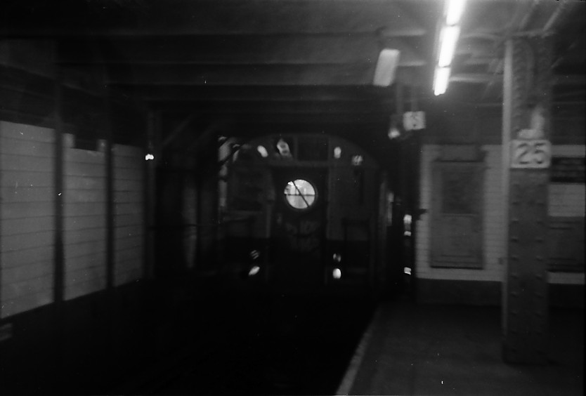 (42k, 834x564)<br><b>Country:</b> United States<br><b>City:</b> New York<br><b>System:</b> New York City Transit<br><b>Line:</b> IRT East Side Line<br><b>Location:</b> 125th Street <br><b>Route:</b> 6<br><b>Car:</b> R-17 (St. Louis, 1955-56)  <br><b>Photo by:</b> Stuart Gitlow<br><b>Date:</b> 10/1977<br><b>Viewed (this week/total):</b> 0 / 4304