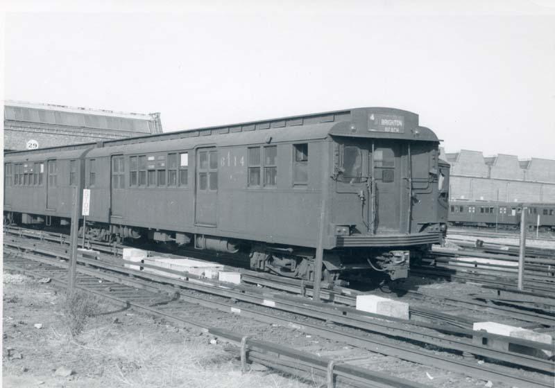(66k, 800x560)<br><b>Country:</b> United States<br><b>City:</b> New York<br><b>System:</b> New York City Transit<br><b>Location:</b> Coney Island Yard<br><b>Car:</b> BMT D-Type Triplex 6114 <br><b>Collection of:</b> Christopher Sattler<br><b>Date:</b> 10/26/1964<br><b>Viewed (this week/total):</b> 0 / 2352