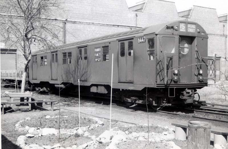 (89k, 800x522)<br><b>Country:</b> United States<br><b>City:</b> New York<br><b>System:</b> New York City Transit<br><b>Location:</b> Coney Island Yard<br><b>Car:</b> R-16 (American Car & Foundry, 1955) 6447 <br><b>Collection of:</b> Christopher Sattler<br><b>Date:</b> 3/17/1962<br><b>Viewed (this week/total):</b> 1 / 3843