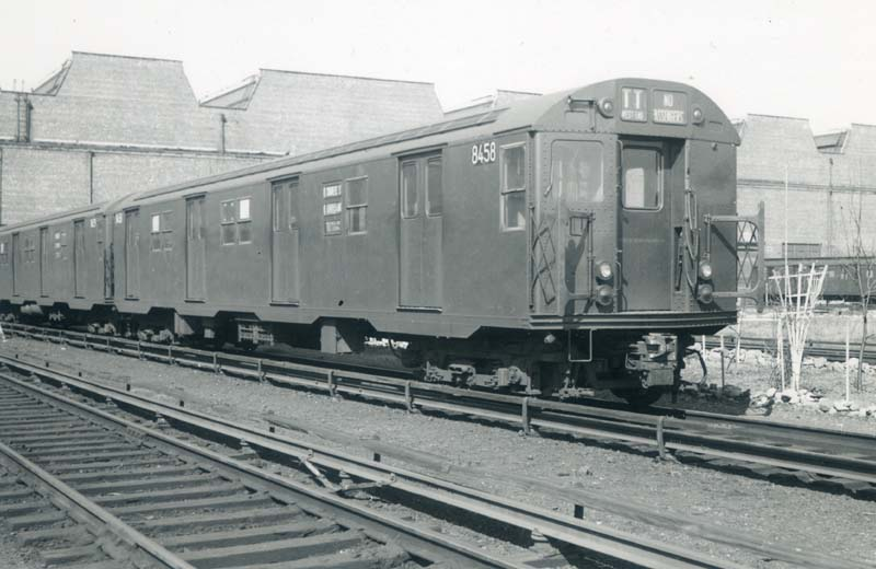 (73k, 800x520)<br><b>Country:</b> United States<br><b>City:</b> New York<br><b>System:</b> New York City Transit<br><b>Location:</b> Coney Island Yard<br><b>Car:</b> R-30 (St. Louis, 1961) 8458 <br><b>Collection of:</b> Christopher Sattler<br><b>Date:</b> 3/17/1962<br><b>Viewed (this week/total):</b> 0 / 2567