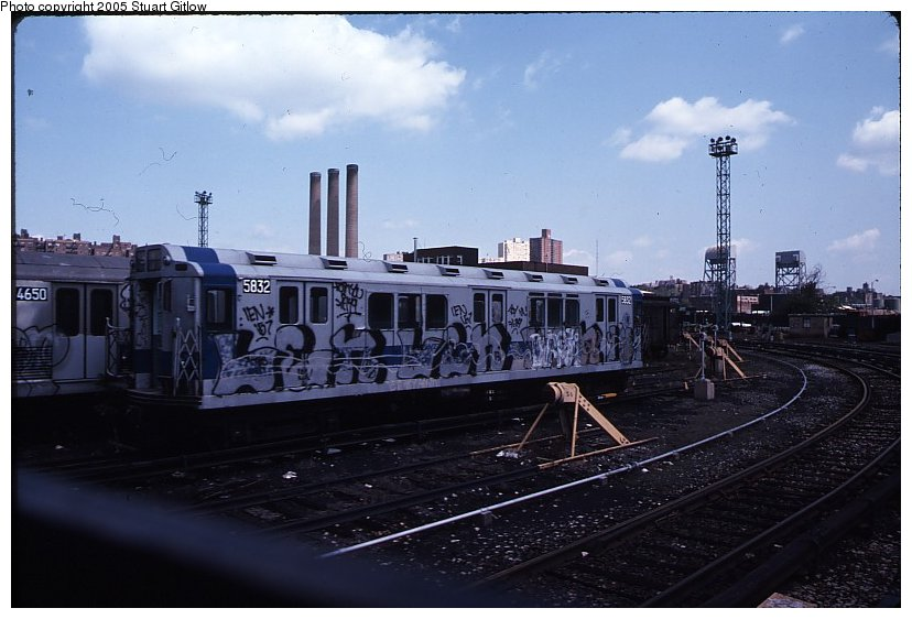 (85k, 828x562)<br><b>Country:</b> United States<br><b>City:</b> New York<br><b>System:</b> New York City Transit<br><b>Location:</b> 207th Street Yard<br><b>Car:</b> R-14 (American Car & Foundry, 1949) 5832 <br><b>Photo by:</b> Stuart Gitlow<br><b>Notes:</b> 1979-Early 1980s<br><b>Viewed (this week/total):</b> 2 / 3445