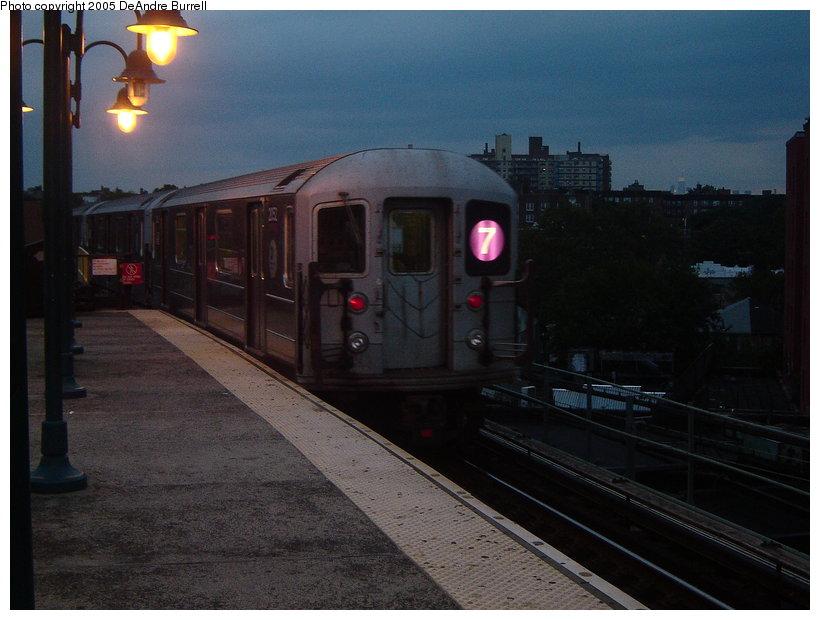 (106k, 820x620)<br><b>Country:</b> United States<br><b>City:</b> New York<br><b>System:</b> New York City Transit<br><b>Line:</b> IRT Flushing Line<br><b>Location:</b> 61st Street/Woodside <br><b>Route:</b> 7<br><b>Car:</b> R-62A (Bombardier, 1984-1987)  2052 <br><b>Photo by:</b> DeAndre Burrell<br><b>Date:</b> 9/23/2005<br><b>Viewed (this week/total):</b> 3 / 2673