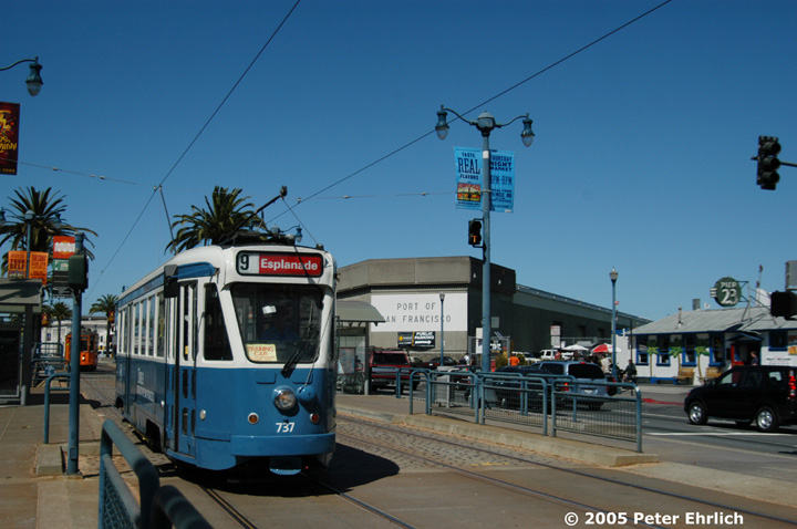 (128k, 720x478)<br><b>Country:</b> United States<br><b>City:</b> San Francisco/Bay Area, CA<br><b>System:</b> SF MUNI<br><b>Location:</b> Embarcadero/Greenwich <br><b>Car:</b> Brussels 4-axle PCC (La Brugeoise, 1951)  737 <br><b>Photo by:</b> Peter Ehrlich<br><b>Date:</b> 9/18/2005<br><b>Notes:</b> Embarcadero/Greenwich outbound (Pier 23). (Second trip; from Geneva to Fisherman's Wharf.)<br><b>Viewed (this week/total):</b> 0 / 782