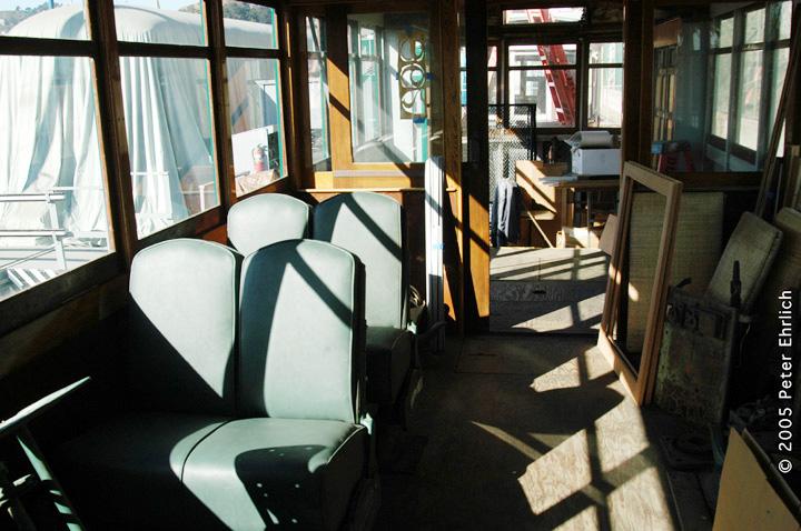 (153k, 720x478)<br><b>Country:</b> United States<br><b>City:</b> San Francisco/Bay Area, CA<br><b>System:</b> SF MUNI<br><b>Location:</b> Duboce aka Mint aka Pharr Yard <br><b>Car:</b> Market Street Railway California Comfort Car (MSRy, 1924-1931)  798 <br><b>Photo by:</b> Peter Ehrlich<br><b>Date:</b> 10/2/2005<br><b>Notes:</b> Interior view, showing newly-installed bucket seats.<br><b>Viewed (this week/total):</b> 0 / 962