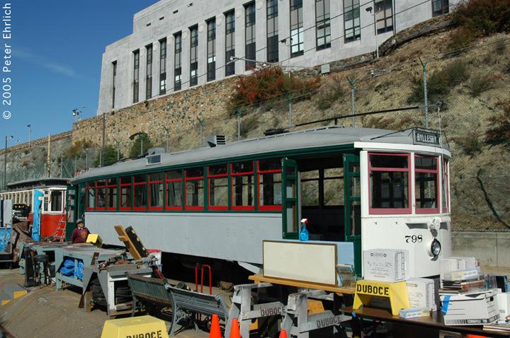(197k, 720x478)<br><b>Country:</b> United States<br><b>City:</b> San Francisco/Bay Area, CA<br><b>System:</b> SF MUNI<br><b>Location:</b> Duboce aka Mint aka Pharr Yard <br><b>Car:</b> Market Street Railway California Comfort Car (MSRy, 1924-1931)  798 <br><b>Photo by:</b> Peter Ehrlich<br><b>Date:</b> 10/2/2005<br><b>Notes:</b> At Mint Yard, showing restoration progress.<br><b>Viewed (this week/total):</b> 1 / 1740