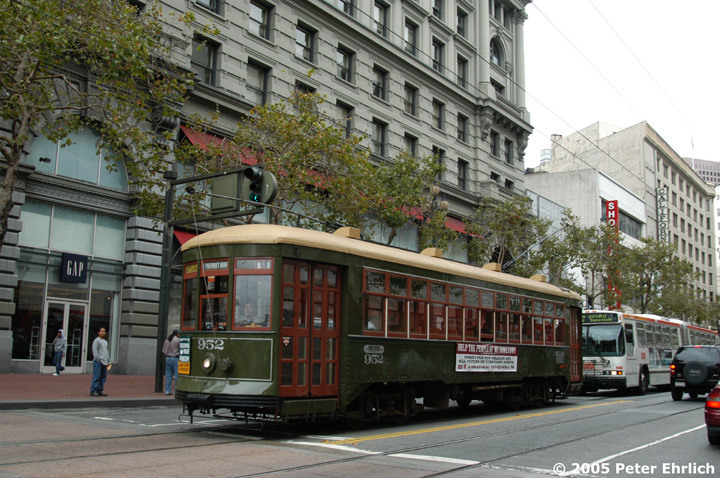 (186k, 720x478)<br><b>Country:</b> United States<br><b>City:</b> San Francisco/Bay Area, CA<br><b>System:</b> SF MUNI<br><b>Location:</b> Market/Powell <br><b>Car:</b> New Orleans Public Service (Perley A. Thomas Car Works, 1924) 952 <br><b>Photo by:</b> Peter Ehrlich<br><b>Date:</b> 9/9/2005<br><b>Notes:</b> Market/Powell outbound.<br><b>Viewed (this week/total):</b> 0 / 648