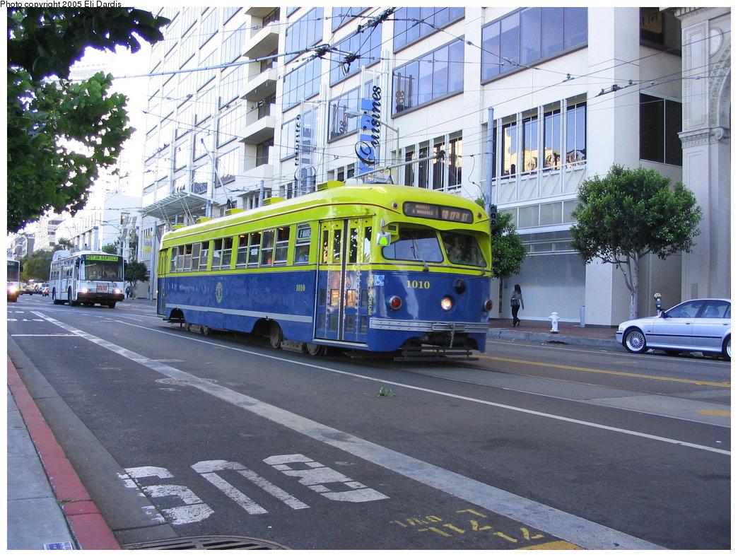 (233k, 1044x788)<br><b>Country:</b> United States<br><b>City:</b> San Francisco/Bay Area, CA<br><b>System:</b> SF MUNI<br><b>Location:</b> Market/Steuart <br><b>Car:</b> SF MUNI PCC Torpedo Double-End (St. Louis Car Co., 1948)  1010 <br><b>Photo by:</b> Eli Dardis<br><b>Date:</b> 8/2/2005<br><b>Viewed (this week/total):</b> 0 / 770