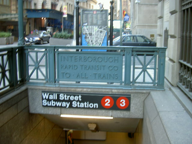 (86k, 640x480)<br><b>Country:</b> United States<br><b>City:</b> New York<br><b>System:</b> New York City Transit<br><b>Line:</b> IRT West Side Line<br><b>Location:</b> Wall Street<br><b>Photo by:</b> Mike Depoto<br><b>Date:</b> 10/1/2005<br><b>Viewed (this week/total):</b> 0 / 5813