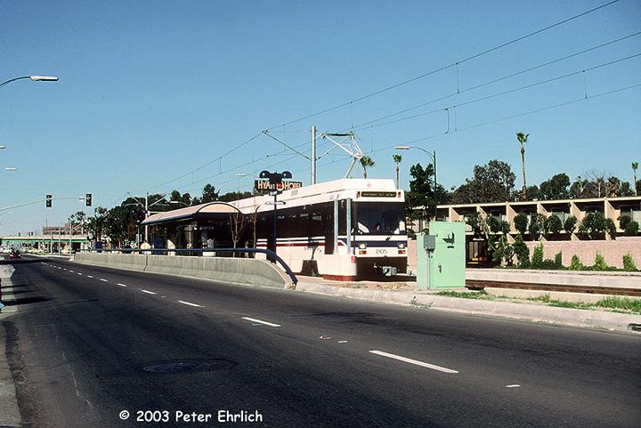 (167k, 720x481)<br><b>Country:</b> United States<br><b>City:</b> San Jose, CA<br><b>System:</b> Santa Clara VTA<br><b>Line:</b> VTA 1st St/Downtown/St. Teresa<br><b>Location:</b> Civic Center <br><b>Car:</b> VTA UTDC 805 <br><b>Photo by:</b> Peter Ehrlich<br><b>Date:</b> 1/24/1988<br><b>Notes:</b> Leaving Metro/Airport Station inbound.<br><b>Viewed (this week/total):</b> 0 / 1473