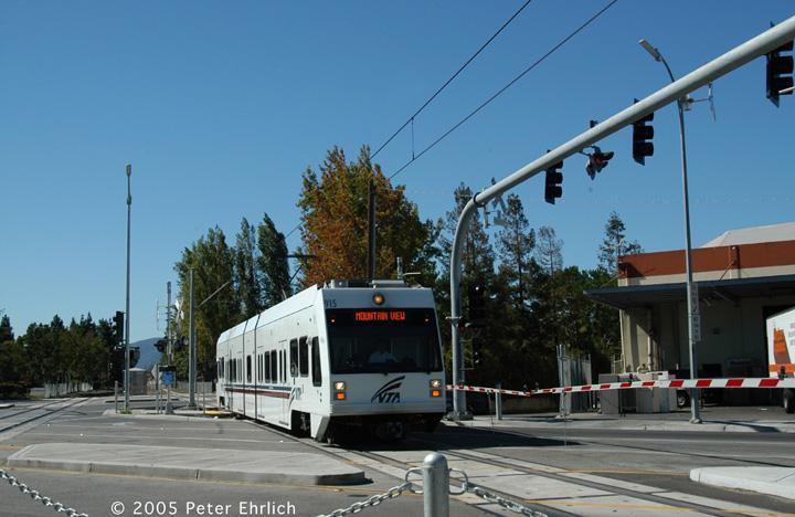 (132k, 720x468)<br><b>Country:</b> United States<br><b>City:</b> San Jose, CA<br><b>System:</b> Santa Clara VTA<br><b>Line:</b> VTA Vasona Line<br><b>Location:</b> Race <br><b>Car:</b> VTA Kinki-Sharyo 915 <br><b>Photo by:</b> Peter Ehrlich<br><b>Date:</b> 10/4/2005<br><b>Notes:</b> Approaching Race Station inbound.<br><b>Viewed (this week/total):</b> 0 / 1255