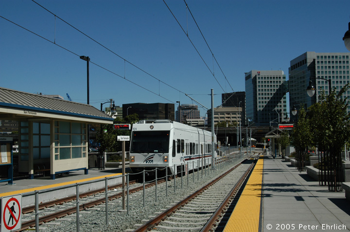 (148k, 720x478)<br><b>Country:</b> United States<br><b>City:</b> San Jose, CA<br><b>System:</b> Santa Clara VTA<br><b>Line:</b> VTA Vasona Line<br><b>Location:</b> San Fernando <br><b>Car:</b> VTA Kinki-Sharyo 924 <br><b>Photo by:</b> Peter Ehrlich<br><b>Date:</b> 10/4/2005<br><b>Notes:</b> Arriving San Fernando Station outbound.<br><b>Viewed (this week/total):</b> 0 / 1336