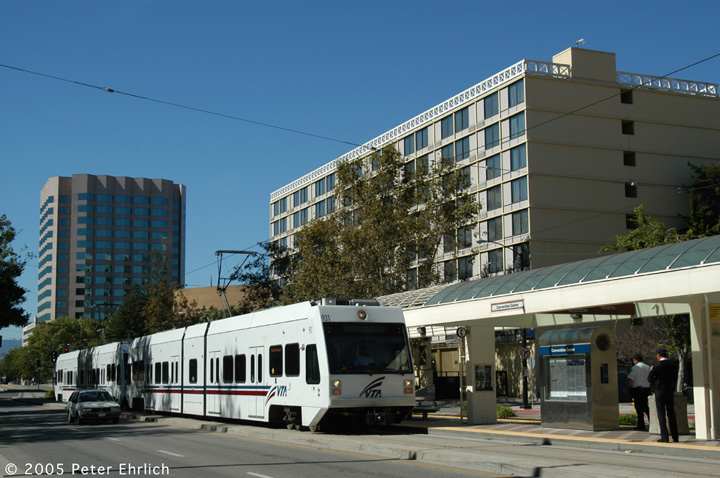 (144k, 720x478)<br><b>Country:</b> United States<br><b>City:</b> San Jose, CA<br><b>System:</b> Santa Clara VTA<br><b>Line:</b> VTA 1st St/Downtown/St. Teresa<br><b>Location:</b> Convention Center <br><b>Car:</b> VTA Kinki-Sharyo 931+959 <br><b>Photo by:</b> Peter Ehrlich<br><b>Date:</b> 10/4/2005<br><b>Notes:</b> 931+959 arriving Convention Center Station inbound.<br><b>Viewed (this week/total):</b> 2 / 1521