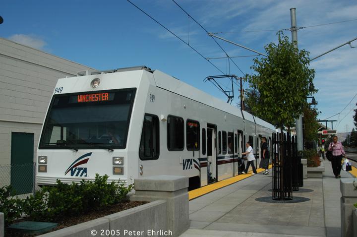 (132k, 720x478)<br><b>Country:</b> United States<br><b>City:</b> San Jose, CA<br><b>System:</b> Santa Clara VTA<br><b>Line:</b> VTA Vasona Line<br><b>Location:</b> Bascom <br><b>Car:</b> VTA Kinki-Sharyo 949 <br><b>Photo by:</b> Peter Ehrlich<br><b>Date:</b> 10/1/2005<br><b>Notes:</b> At Bascom Station outbound.<br><b>Viewed (this week/total):</b> 0 / 1187