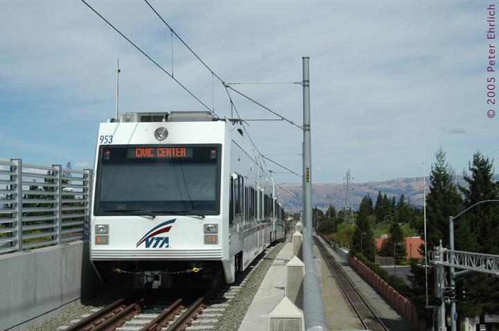 (119k, 720x478)<br><b>Country:</b> United States<br><b>City:</b> San Jose, CA<br><b>System:</b> Santa Clara VTA<br><b>Line:</b> VTA Vasona Line<br><b>Location:</b> Hamilton <br><b>Car:</b> VTA Kinki-Sharyo 953 <br><b>Photo by:</b> Peter Ehrlich<br><b>Date:</b> 10/1/2005<br><b>Notes:</b> Leaving Hamilton Station inbound.<br><b>Viewed (this week/total):</b> 0 / 1354
