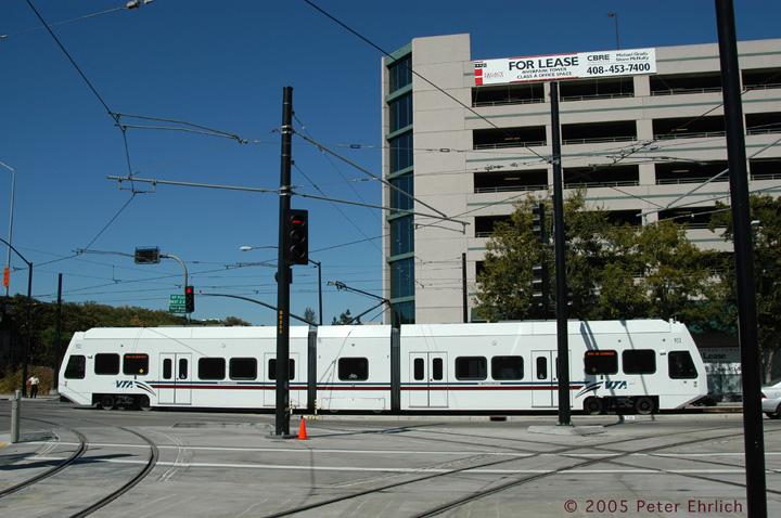(149k, 720x478)<br><b>Country:</b> United States<br><b>City:</b> San Jose, CA<br><b>System:</b> Santa Clara VTA<br><b>Line:</b> VTA 1st St/Downtown/St. Teresa<br><b>Location:</b> Vasona Jct. <br><b>Car:</b> VTA Kinki-Sharyo 953 <br><b>Photo by:</b> Peter Ehrlich<br><b>Date:</b> 10/4/2005<br><b>Notes:</b> Vasona Junction inbound from Vasona Line.<br><b>Viewed (this week/total):</b> 0 / 1682