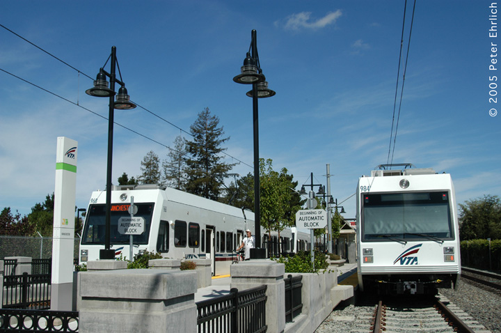 (137k, 720x478)<br><b>Country:</b> United States<br><b>City:</b> San Jose, CA<br><b>System:</b> Santa Clara VTA<br><b>Line:</b> VTA Vasona Line<br><b>Location:</b> Winchester <br><b>Car:</b> VTA Kinki-Sharyo 968+984 <br><b>Photo by:</b> Peter Ehrlich<br><b>Date:</b> 10/1/2005<br><b>Notes:</b> At Winchester station.<br><b>Viewed (this week/total):</b> 2 / 1636