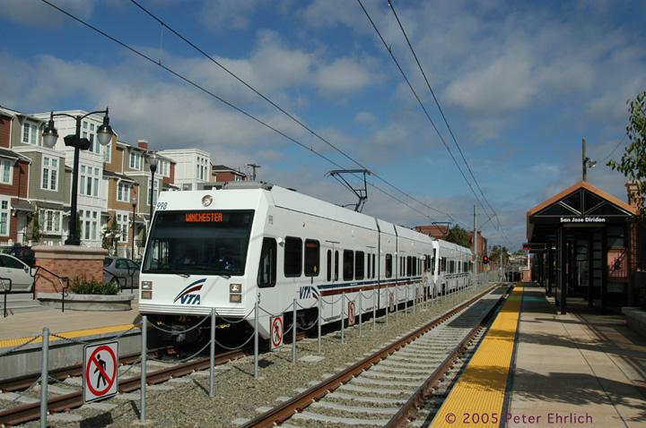 (160k, 720x478)<br><b>Country:</b> United States<br><b>City:</b> San Jose, CA<br><b>System:</b> Santa Clara VTA<br><b>Line:</b> VTA Vasona Line<br><b>Location:</b> San Jose Diridon <br><b>Car:</b> VTA Kinki-Sharyo 998 <br><b>Photo by:</b> Peter Ehrlich<br><b>Date:</b> 10/1/2005<br><b>Notes:</b> The inaugural 2-car train, with VIPs and regular passengers on board, arrives at San Jose Diridon Station outbound to the Vasona Line.<br><b>Viewed (this week/total):</b> 0 / 1310