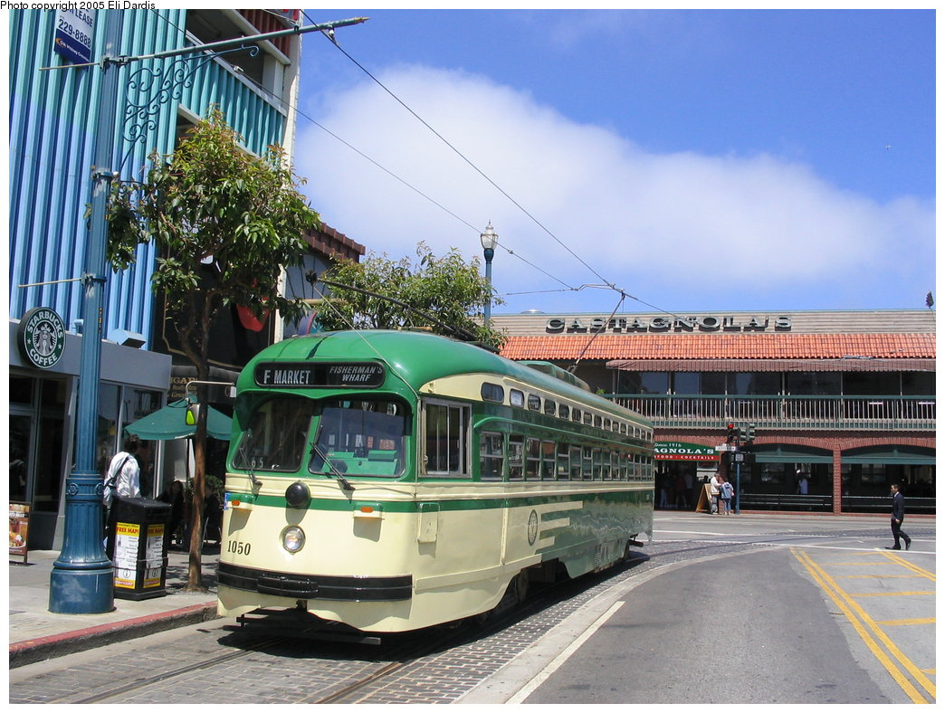 (219k, 1044x788)<br><b>Country:</b> United States<br><b>City:</b> San Francisco/Bay Area, CA<br><b>System:</b> SF MUNI<br><b>Location:</b> Jones/Beach <br><b>Route:</b> F-Market<br><b>Car:</b> SF MUNI PCC (Ex-SEPTA) (St. Louis Car Co., 1947-1948)  1050 <br><b>Photo by:</b> Eli Dardis<br><b>Date:</b> 8/2/2005<br><b>Viewed (this week/total):</b> 0 / 647