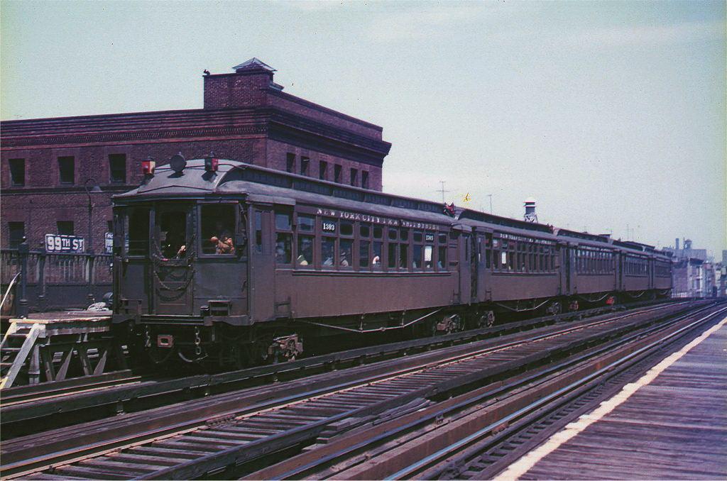 (157k, 1024x678)<br><b>Country:</b> United States<br><b>City:</b> New York<br><b>System:</b> New York City Transit<br><b>Line:</b> 3rd Avenue El<br><b>Location:</b> 99th Street <br><b>Car:</b> MUDC 1303 <br><b>Photo by:</b> Arthur Myrick/Harold Fagerberg Coll.<br><b>Collection of:</b> Joe Testagrose<br><b>Date:</b> 5/10/1955<br><b>Viewed (this week/total):</b> 0 / 4609