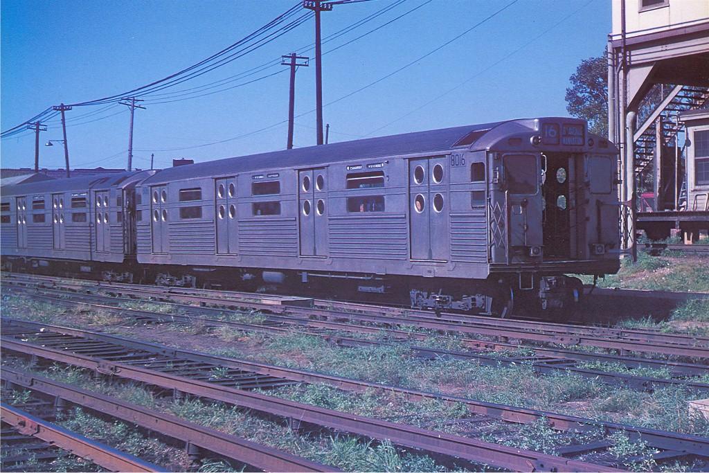 (272k, 1024x683)<br><b>Country:</b> United States<br><b>City:</b> New York<br><b>System:</b> New York City Transit<br><b>Location:</b> Rockaway Parkway (Canarsie) Yard<br><b>Car:</b> R-11 (Budd, 1949) 8016 <br><b>Photo by:</b> Arthur Myrick/Harold Fagerberg Coll.<br><b>Collection of:</b> Joe Testagrose<br><b>Date:</b> 9/8/1955<br><b>Viewed (this week/total):</b> 4 / 3599