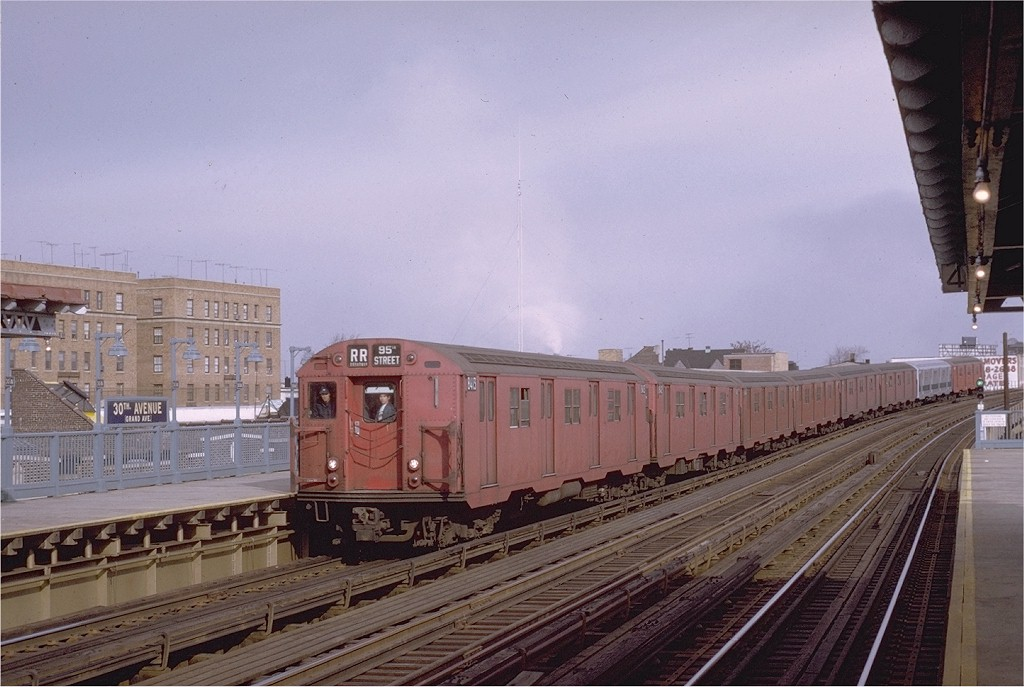 (177k, 1024x687)<br><b>Country:</b> United States<br><b>City:</b> New York<br><b>System:</b> New York City Transit<br><b>Line:</b> BMT Astoria Line<br><b>Location:</b> 30th/Grand Aves. <br><b>Route:</b> RR<br><b>Car:</b> R-30 (St. Louis, 1961) 8413 <br><b>Photo by:</b> Joe Testagrose<br><b>Date:</b> 11/26/1970<br><b>Viewed (this week/total):</b> 0 / 2269