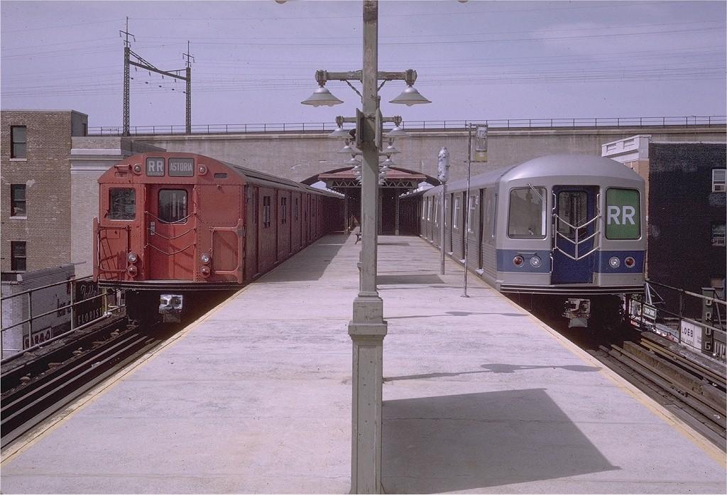 (220k, 1024x697)<br><b>Country:</b> United States<br><b>City:</b> New York<br><b>System:</b> New York City Transit<br><b>Line:</b> BMT Astoria Line<br><b>Location:</b> Ditmars Boulevard <br><b>Route:</b> RR<br><b>Car:</b> R-30 (St. Louis, 1961) 8448 <br><b>Photo by:</b> Doug Grotjahn<br><b>Collection of:</b> Joe Testagrose<br><b>Date:</b> 7/6/1969<br><b>Viewed (this week/total):</b> 2 / 3926