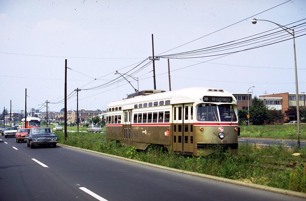 (190k, 1024x671)<br><b>Country:</b> United States<br><b>City:</b> Philadelphia, PA<br><b>System:</b> SEPTA (or Predecessor)<br><b>Line:</b> Rt. 36-Eastwick<br><b>Location:</b> Island Ave <br><b>Route:</b> Fan Trip<br><b>Car:</b> PTC/SEPTA Postwar All-electric PCC (St.Louis, 1948)  2165 <br><b>Collection of:</b> Joe Testagrose<br><b>Date:</b> 7/7/1973<br><b>Notes:</b> ERA Fantrip with 2165, 2124, 2168<br><b>Viewed (this week/total):</b> 0 / 2690