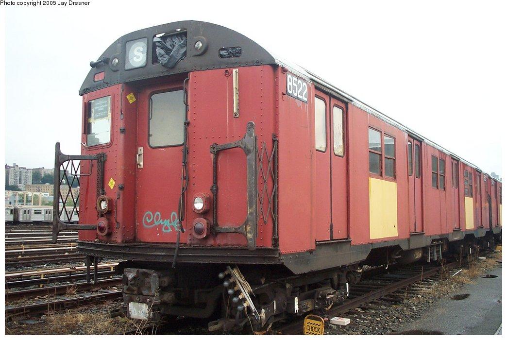 (141k, 1044x700)<br><b>Country:</b> United States<br><b>City:</b> New York<br><b>System:</b> New York City Transit<br><b>Location:</b> 207th Street Yard<br><b>Car:</b> R-30 (St. Louis, 1961) 8522 <br><b>Photo by:</b> J. Dresner<br><b>Date:</b> 10/22/2005<br><b>Viewed (this week/total):</b> 1 / 3329