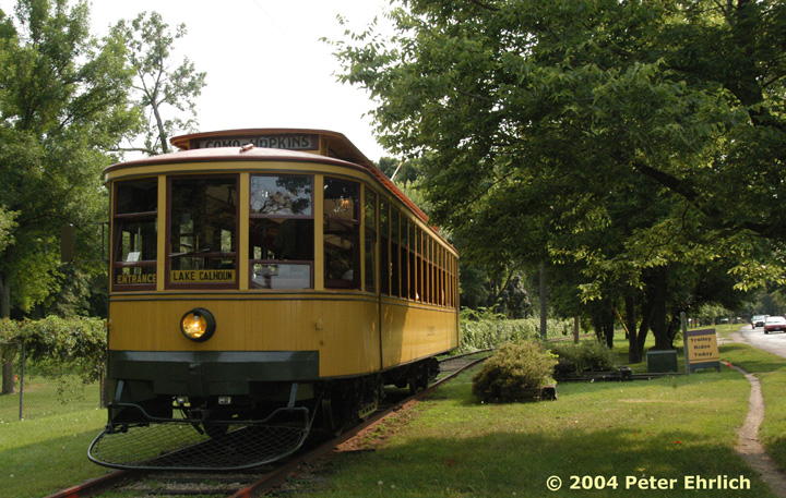 (192k, 720x457)<br><b>Country:</b> United States<br><b>City:</b> Minneapolis, MN<br><b>System:</b> Minnesota Streetcar Museum <br><b>Line:</b> Como-Harriet Line<br><b>Car:</b>  1300 <br><b>Photo by:</b> Peter Ehrlich<br><b>Date:</b> 8/1/2004<br><b>Notes:</b> At the Lake Calhoun end of the line.  Lake Calhoun is on the right, out of the picture.<br><b>Viewed (this week/total):</b> 0 / 1221