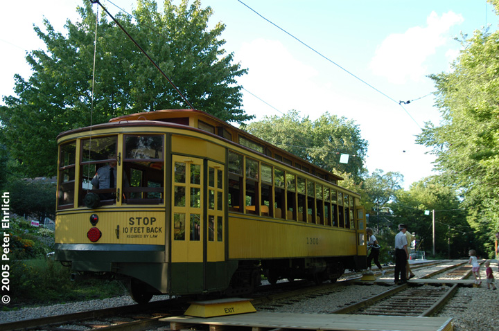 (192k, 720x478)<br><b>Country:</b> United States<br><b>City:</b> Minneapolis, MN<br><b>System:</b> Minnesota Streetcar Museum <br><b>Line:</b> Como-Harriet Line<br><b>Car:</b>  1300 <br><b>Photo by:</b> Peter Ehrlich<br><b>Date:</b> 8/27/2005<br><b>Notes:</b> At Linden Hills outbound.<br><b>Viewed (this week/total):</b> 2 / 2397