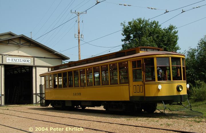 (158k, 720x465)<br><b>Country:</b> United States<br><b>City:</b> Minneapolis, MN<br><b>System:</b> Minnesota Streetcar Museum <br><b>Line:</b> Excelsior Line<br><b>Car:</b>  1239 <br><b>Photo by:</b> Peter Ehrlich<br><b>Date:</b> 8/1/2004<br><b>Notes:</b> Twin Cities 1239 outside Excelsior Barn.<br><b>Viewed (this week/total):</b> 2 / 2197