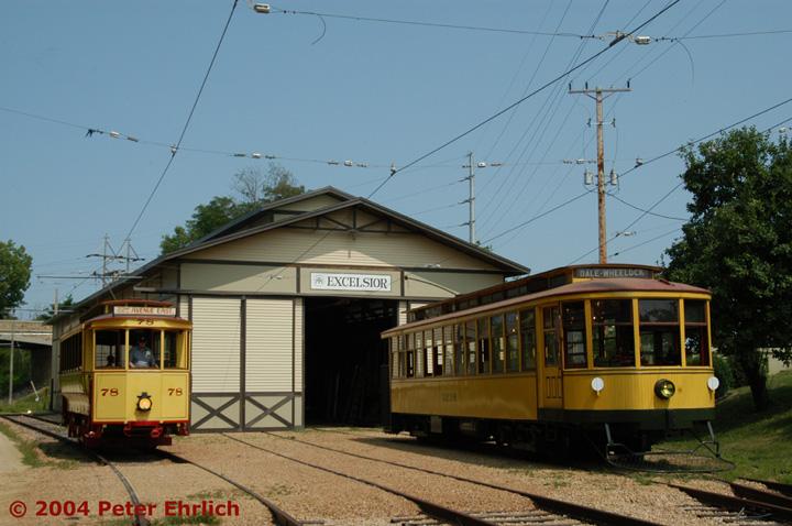 (135k, 720x478)<br><b>Country:</b> United States<br><b>City:</b> Minneapolis, MN<br><b>System:</b> Minnesota Streetcar Museum <br><b>Line:</b> Excelsior Line<br><b>Car:</b>  78 <br><b>Photo by:</b> Peter Ehrlich<br><b>Date:</b> 8/1/2004<br><b>Notes:</b> Cars 78 and 1239 at the barn.<br><b>Viewed (this week/total):</b> 1 / 1333