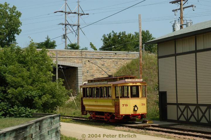 (181k, 720x478)<br><b>Country:</b> United States<br><b>City:</b> Minneapolis, MN<br><b>System:</b> Minnesota Streetcar Museum <br><b>Line:</b> Excelsior Line<br><b>Car:</b>  78 <br><b>Photo by:</b> Peter Ehrlich<br><b>Date:</b> 8/1/2004<br><b>Notes:</b> 78 alongside back of barn<br><b>Viewed (this week/total):</b> 1 / 1294