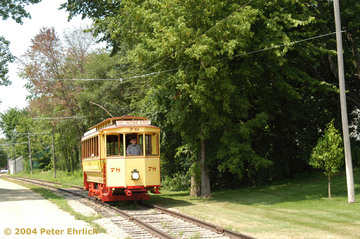 (230k, 720x478)<br><b>Country:</b> United States<br><b>City:</b> Minneapolis, MN<br><b>System:</b> Minnesota Streetcar Museum <br><b>Line:</b> Excelsior Line<br><b>Car:</b>  78 <br><b>Photo by:</b> Peter Ehrlich<br><b>Date:</b> 8/1/2004<br><b>Notes:</b> Approaching Morse Avenue outbound.<br><b>Viewed (this week/total):</b> 2 / 1309