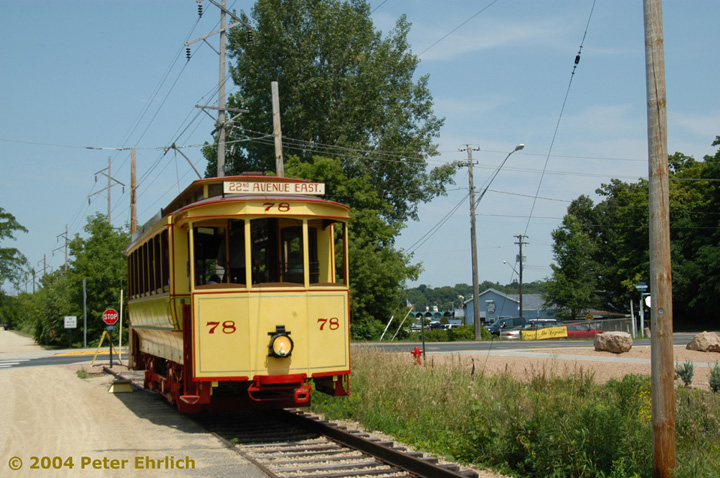 (167k, 720x478)<br><b>Country:</b> United States<br><b>City:</b> Minneapolis, MN<br><b>System:</b> Minnesota Streetcar Museum <br><b>Line:</b> Excelsior Line<br><b>Car:</b>  78 <br><b>Photo by:</b> Peter Ehrlich<br><b>Date:</b> 8/1/2004<br><b>Notes:</b> At Excelsior Blvd., east end of line.<br><b>Viewed (this week/total):</b> 4 / 1388
