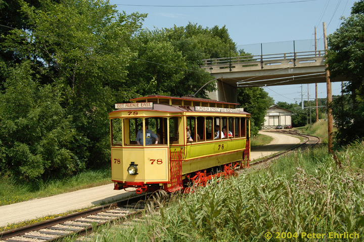 (240k, 720x478)<br><b>Country:</b> United States<br><b>City:</b> Minneapolis, MN<br><b>System:</b> Minnesota Streetcar Museum <br><b>Line:</b> Excelsior Line<br><b>Car:</b>  78 <br><b>Photo by:</b> Peter Ehrlich<br><b>Date:</b> 8/1/2004<br><b>Notes:</b> At Mill Avenue overpass inbound.<br><b>Viewed (this week/total):</b> 1 / 1317