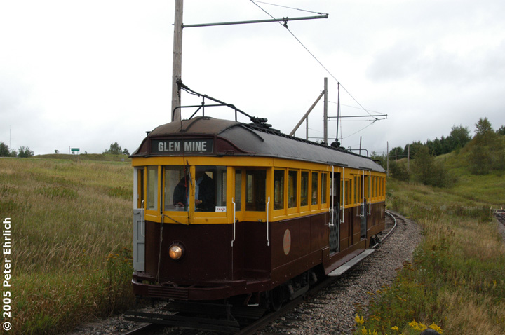 (122k, 720x478)<br><b>Country:</b> United States<br><b>City:</b> Chisholm, MN<br><b>System:</b> Ironworld<br><b>Car:</b> Melbourne W2 Class (1923-1931)  601 <br><b>Photo by:</b> Peter Ehrlich<br><b>Date:</b> 8/29/2005<br><b>Notes:</b> Approaching Pillsbury Station (not in use) outbound.<br><b>Viewed (this week/total):</b> 4 / 1536