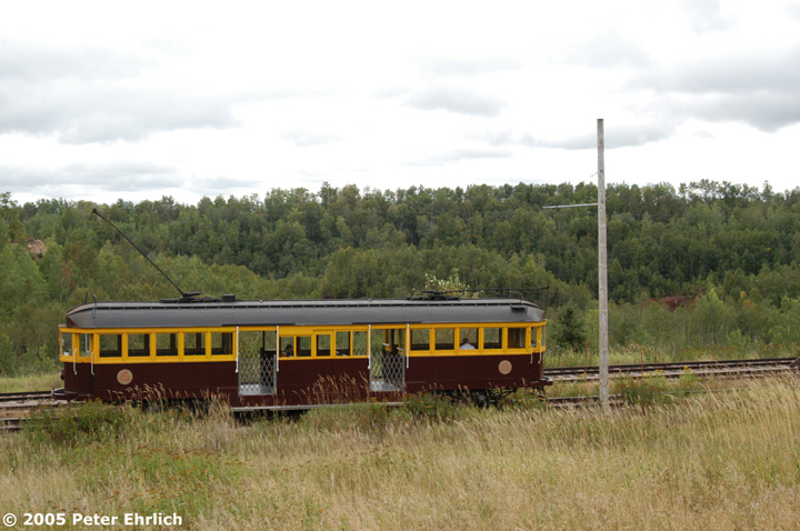 (138k, 720x478)<br><b>Country:</b> United States<br><b>City:</b> Chisholm, MN<br><b>System:</b> Ironworld<br><b>Car:</b> Melbourne W2 Class (1923-1931)  601 <br><b>Photo by:</b> Peter Ehrlich<br><b>Date:</b> 8/29/2005<br><b>Notes:</b> Approaching Pillsbury Station (not in use) outbound.<br><b>Viewed (this week/total):</b> 1 / 1652