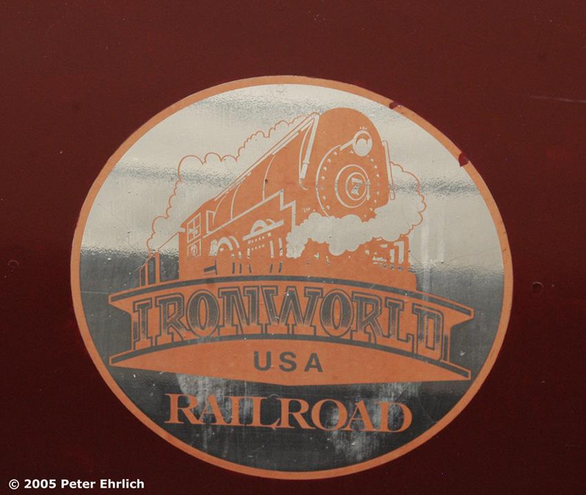 (217k, 852x720)<br><b>Country:</b> United States<br><b>City:</b> Chisholm, MN<br><b>System:</b> Ironworld<br><b>Photo by:</b> Peter Ehrlich<br><b>Date:</b> 8/29/2005<br><b>Notes:</b> Ironworld RR Logo.<br><b>Viewed (this week/total):</b> 2 / 1368