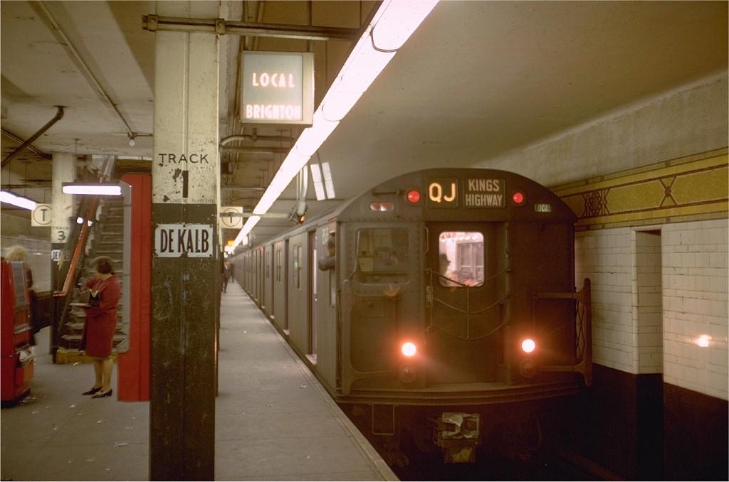 (151k, 1024x678)<br><b>Country:</b> United States<br><b>City:</b> New York<br><b>System:</b> New York City Transit<br><b>Location:</b> DeKalb Avenue<br><b>Route:</b> QJ<br><b>Car:</b> R-30 (St. Louis, 1961) 8545 <br><b>Photo by:</b> Doug Grotjahn<br><b>Collection of:</b> Joe Testagrose<br><b>Date:</b> 11/11/1968<br><b>Viewed (this week/total):</b> 1 / 4022
