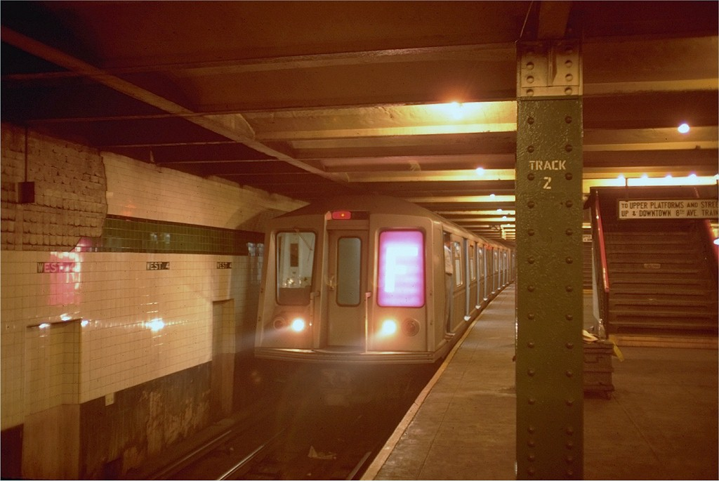 (145k, 1024x685)<br><b>Country:</b> United States<br><b>City:</b> New York<br><b>System:</b> New York City Transit<br><b>Line:</b> IND 6th Avenue Line<br><b>Location:</b> West 4th Street/Washington Square <br><b>Route:</b> F<br><b>Car:</b> R-40 (St. Louis, 1968)   <br><b>Photo by:</b> Doug Grotjahn<br><b>Collection of:</b> Joe Testagrose<br><b>Date:</b> 9/26/1968<br><b>Viewed (this week/total):</b> 2 / 5443