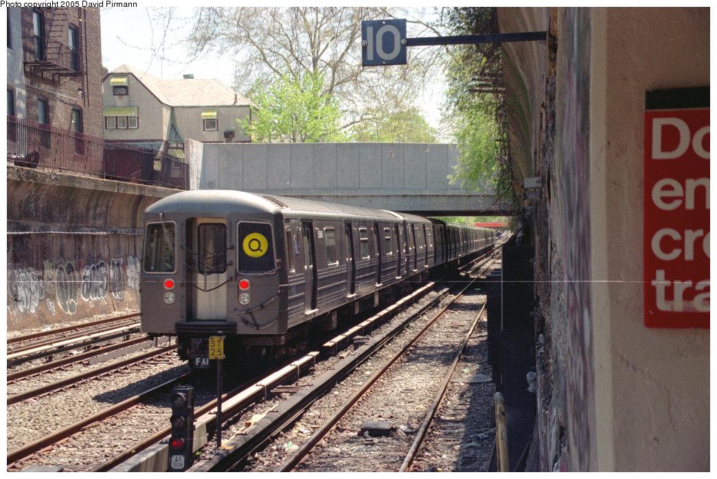 (271k, 1044x698)<br><b>Country:</b> United States<br><b>City:</b> New York<br><b>System:</b> New York City Transit<br><b>Line:</b> BMT Brighton Line<br><b>Location:</b> Cortelyou Road <br><b>Route:</b> Q<br><b>Car:</b> R-68/R-68A Series (Number Unknown)  <br><b>Photo by:</b> David Pirmann<br><b>Date:</b> 4/26/1997<br><b>Viewed (this week/total):</b> 0 / 3271