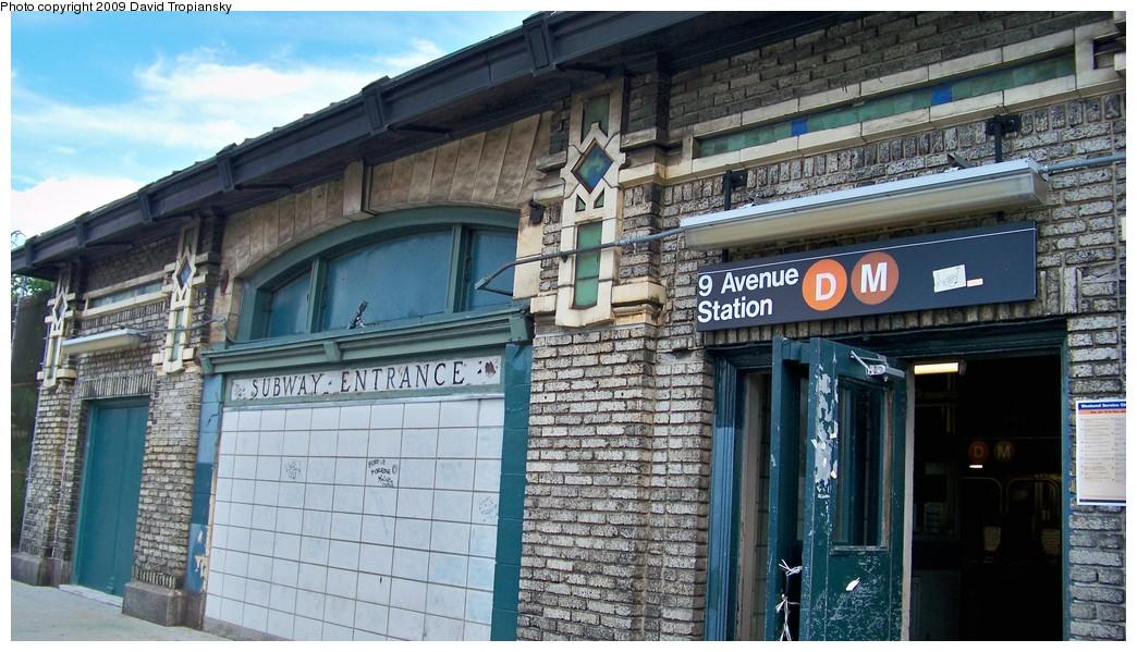 (228k, 1044x599)<br><b>Country:</b> United States<br><b>City:</b> New York<br><b>System:</b> New York City Transit<br><b>Line:</b> BMT West End Line<br><b>Location:</b> 9th Avenue <br><b>Photo by:</b> David Tropiansky<br><b>Date:</b> 7/19/2009<br><b>Notes:</b> Station house at 9th Avenue.<br><b>Viewed (this week/total):</b> 2 / 2049
