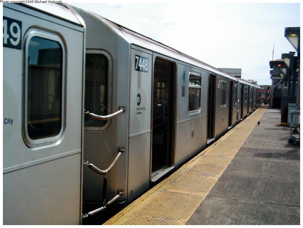 (159k, 1044x788)<br><b>Country:</b> United States<br><b>City:</b> New York<br><b>System:</b> New York City Transit<br><b>Line:</b> IRT Pelham Line<br><b>Location:</b> Pelham Bay Park <br><b>Route:</b> 6<br><b>Car:</b> R-142A (Primary Order, Kawasaki, 1999-2002)  7448 <br><b>Photo by:</b> Michael Hodurski<br><b>Date:</b> 7/2005<br><b>Viewed (this week/total):</b> 0 / 4072